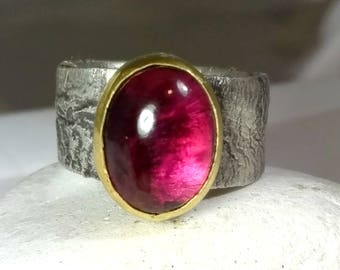 Pink Tourmaline Ring, Solitaire Ring,   silver and 22 kt gold gemstone  ring, Contemporary 5.3 carat Tourmaline  statement ring