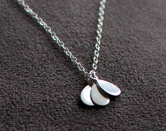 "layered sterling silver pendant necklace - ""petals"" necklace - made by elephantine jewelry"