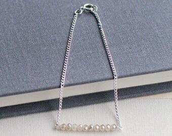 "minimalist sterling silver bracelet - ""sub rosa"" handmade bracelet - crystal bracelet - gift for her"