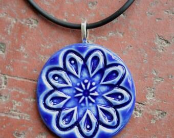 Cobalt Blue Kaleidoscope Porcelain Pendant