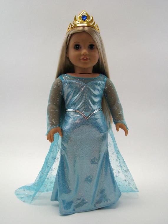 Blue Ice Princess Dress & Gold Tiara - 18 Inch Doll Clothes