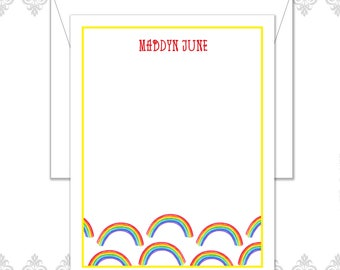 Rainbow Stationery set of 10 note cards with envelopes, Rainbow pattern stationery, Rainbows, Rainbow notecards, Bright and cheery cards