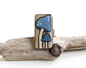 Adjustable Mushroom Statement Ring, Wood Rectangle Ring, Geometric Modern Ring, Nature Lover Gift Ideas, Blue Magic Mushroom, Made in Canada
