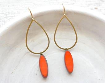 Coral Earrings / Beaded Dangle Earrings / Modern Earrings / Contemporary Jewelry / Boho Earrings / Gold Earrings / Teardrop Earrings / Gift