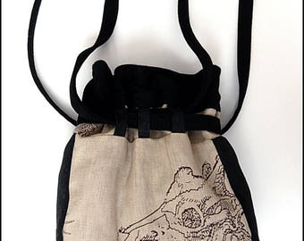 Bag of Bones - One of a Kind Purse by Kambriel - Skeleton Canvas, Black Wool and Brocade - Brand New & Ready to Ship!