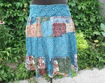 Short hippie skirt India print cotton layered tiered lined India print gypsy boho medium
