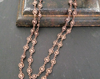 Long Antique Copper Bead Chain Necklace, Long Wrap Around Chain Necklace, Copper, Metal Bead, Concho Chain, Rustic, Rock and Roll, Rocker