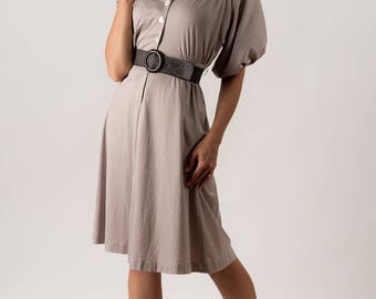 Vintage Taupe Polka Dot Dress (Size Small)
