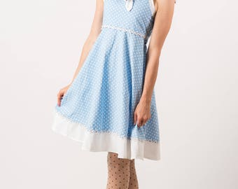 Vintage Sky Blue And White Polka Dot Dress (Size Petite Small)