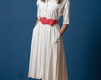 Vintage Solid White Full Skirted Shirt Waist Dress (Size Small)