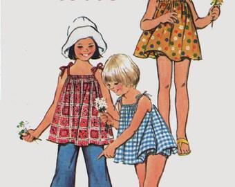 Vintage 1970s Girls Mini Sun Dress or Top w/ Shoulder Ties & Bloomers Pants Sewing Pattern Simplicity 5705 Jiffy Pattern Size 4 Breast 23