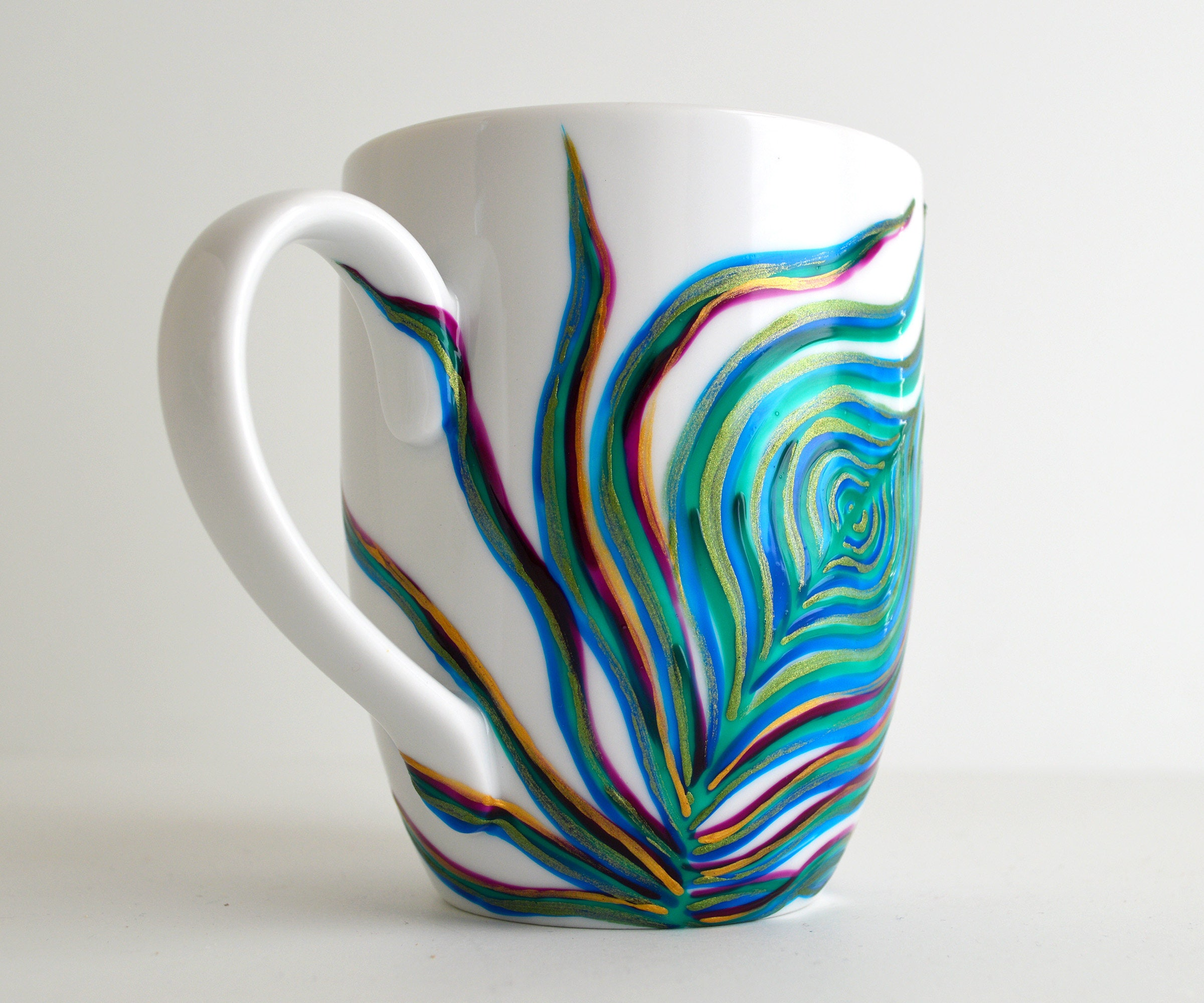 peacock feather mug hand painted porcelaine mug single hand. Black Bedroom Furniture Sets. Home Design Ideas