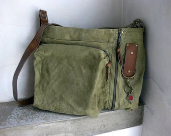 Army Green Cross Body, Olive Green Messenger Bag, Recycled Military Bag, Repurposed Recycled Handbag, Leather Canvas Bag, Upcycled Army Bag