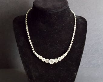 Vintage Clear Rhinestone Necklace {Bridal Jewelry White Diamante Collar Crystal 1960's 60's 1960s Round Cut}