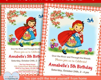 Little Red Riding Hood invitation - woodland picnic storybook theme girl birthday party invite - INSTANT DOWNLOAD P-45 - with editable text