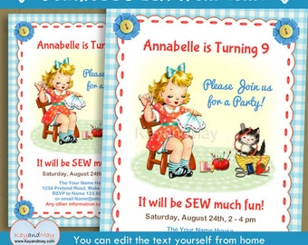 Sewing Party invitation - art & craft sew sewing theme birthday printable invite blonde girl- INSTANT DOWNLOAD #P-127 - with editable text