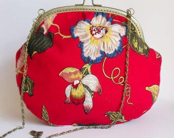 Red frame bag with tropical flowers and hummingbird - ready to ship