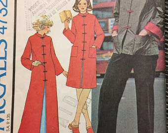 70's Misses' Housecoat or Jacket McCall's 4732 Sewing Pattern  size Medium Bust 36-38 inches  Complete Sewing Pattern
