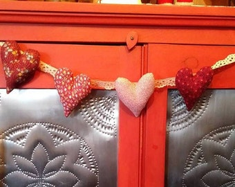 Valentine Heart Garland Bunting Vintage Calico Fabric Great Country Primitive Decor