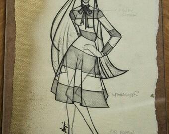Original Fashion Illustration by Project Runway Designer Valerie Mayen, Fashion Sketch of Runway Garment, Home Decor, Wall Art Print