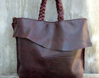 Italian Leather Tote Bag with Shoulder Strap in Dark Plum Pull Up Leather by Stacy Leigh
