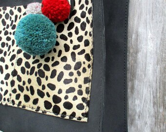 Handmade Black Leather Tote bag with Hair On Cowhide Leopard Pockets by Stacy Leigh