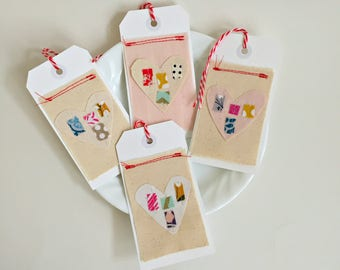 Valentine heart fabric scrap gift tags, boho modern textile heart hang tags, sewn stitched patchwork journal tags, embellishments, set of 4