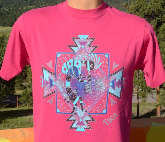vintage 90s tee TAOS new mexico native art kokopelli turquoise t-shirt Medium Small