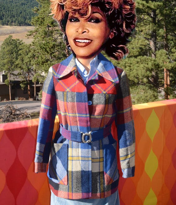 vintage 60s coat PLAID belt collar mod jacket rockstar boho women's 7/8 Small Medium utex 70s