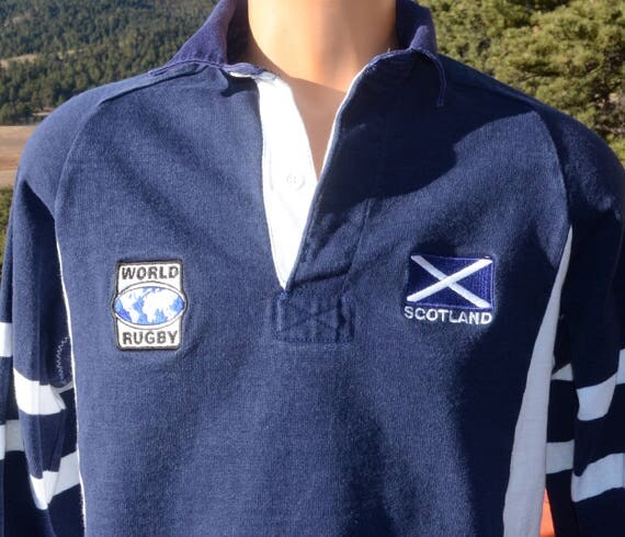 vintage 80s rugby shirt SCOTLAND scottish flag stripe blue Small preppy barbarian