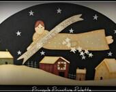 Primitive Saltbox House Angel Wood Door Crown Home Decor