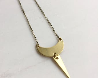 Gold moon and spike necklace, minimalist necklace, delicate moon necklace, gift for her for women, geometric necklace, bohemian necklace