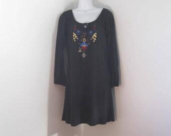 Vintage Dress Black Embroidered Dress Little Black Dress size M 10/12
