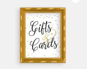 Printable Wedding Sign - Wedding Cards & Gifts - Gold Wedding - Cards Gifts Sign - Printable Cards Gifts Sign - Printable Wedding -Gold Foil
