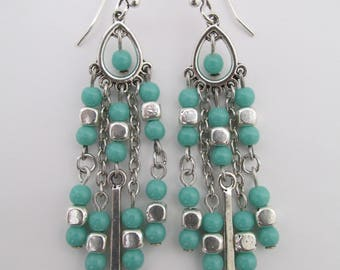 Boho Chandelier Earrings - Turquoise