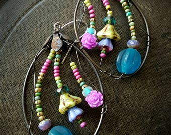 Flowers, Wire Wrapped, Hoops, Sea Glass, Blossom Series, Bohemian, Gypsy, Artisan Made, Glass, Organic, Rustic, Unique, Beaded Earrings