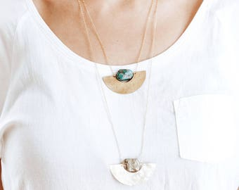 Turquoise Pendant Hammered Half Moon Necklace - Brass Necklace | Hammered Long Necklace | Brass Stone Necklace | Turquoise Jewelry