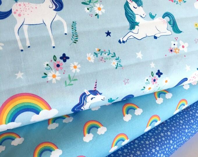 Unicorn fabric, Rainbow fabric, Kids fabric, Girls Quilt fabric, Happy Little Unicorn Fabric Bundle of 3- Choose the Cut