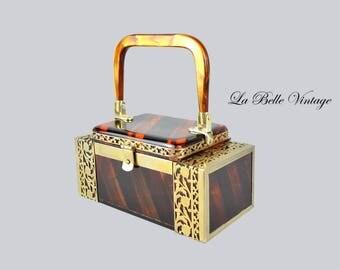 Tyrolean 50s Lucite Purse Vintage Tiger Striped 24k Gold Filigree Handbag