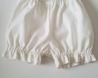 Bloomers, Ruffle Bloomers, Diaper Cover, White Bloomer with ruffles, baby bloomers, toddler bloomers Kids Clothes Panty Covers Under Garment