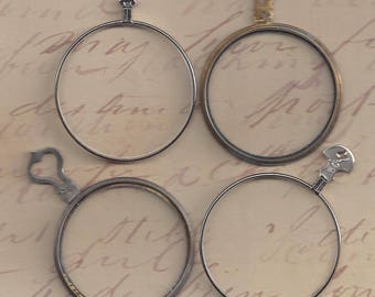 4 Antique trial optical Lenses.. steampunk monocle type