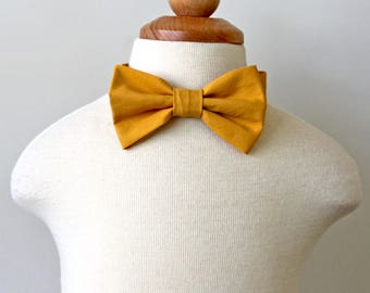 Gold Yellow Mustard Cotton Bow Tie, boy, baby, toddler, Ring bearer, Holiday