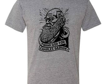 Charles Darwin T-shirt - Gray Tri-blend T-shirt - Next Level T-shirt - Funny T-shirt - Science T-shirt
