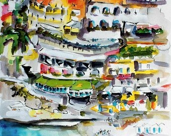 Amalfi Coast Italy Positano Original Watercolor and Ink Painting by Ginette