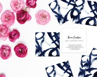 Navy Graffiti Artwork Calling Cards | Business Cards | Blogger Cards | Set (50)