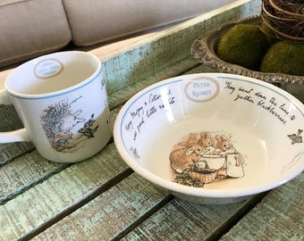 Wedgwood England Peter Rabbit Centennial Frederick Warne & Co. Coupe Cereal Bowl and Cup Nursery Set Baby Shower TYCAALAK