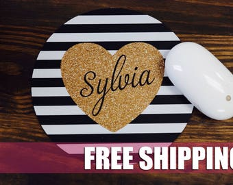 Monogram Mouse Pad, Glitter Heart, Monogram Mousepad, Custom Mousepad, Personalized Mousepad, Custom Mouse Pad, Round Mousepad