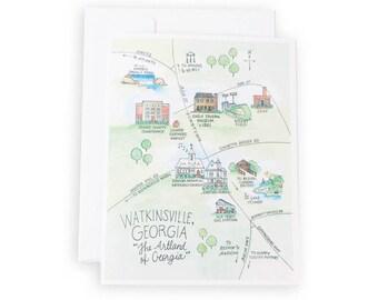 Watkinsville, Georgia Watercolor Map Notecard Set