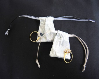 NEW Tiny silver lame pouch -fabric reuseable bag for rings, gifts, presentation, wedding- small but useful size- ready to ship