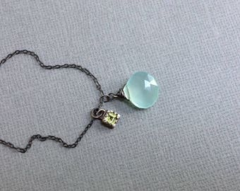 Aqua Blue Chalcedony Necklace - Olive Green Peridot Necklace - Simple Drop Necklace - Oxidized Sterling Silver Necklace - Bezel Necklace
